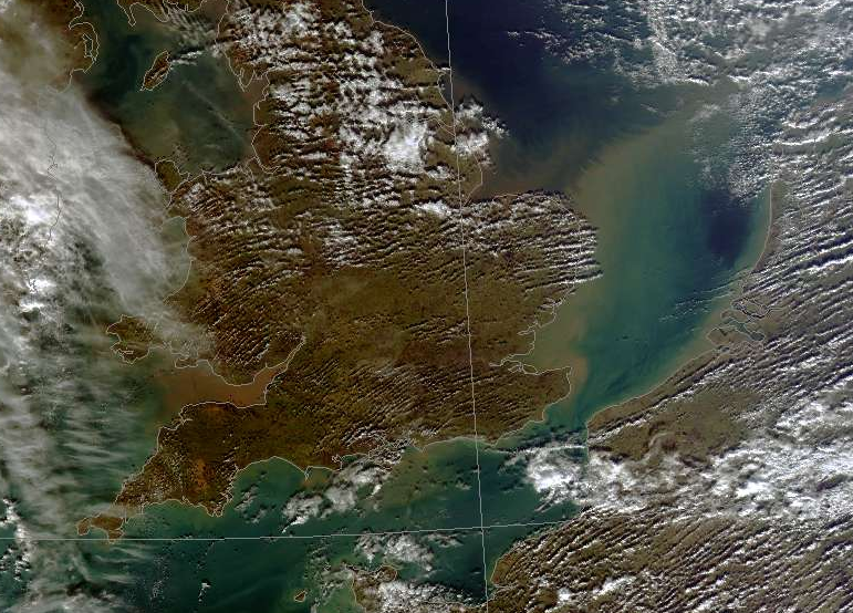 There goes Britain: a satellite image shows soil pouring out of our rivers on February 16th. From the Dundee Satellite Receiving Station.